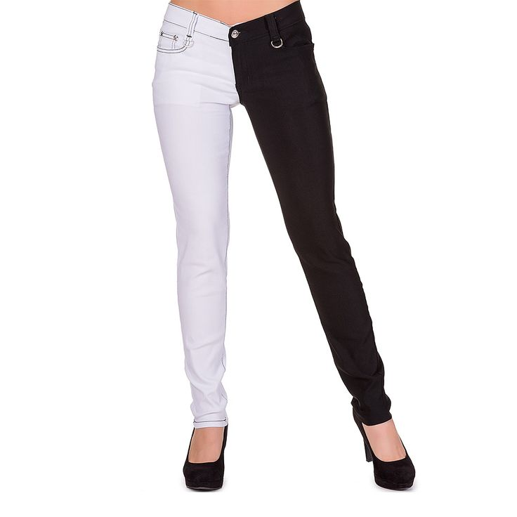 Banned Night After Night Skinny Jeans (Black/White)