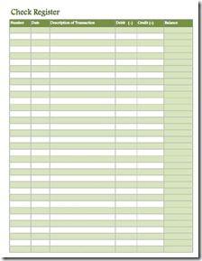 Check Register - Green   printables   Pinterest