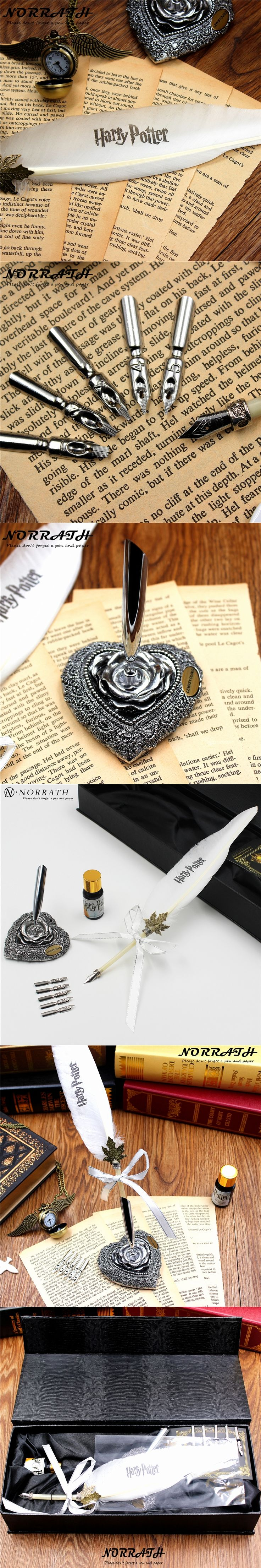 Harry Potter White Owl Vintage Feather Fountain Pen Iuxury Gift Box Quill Ink Pen Pen Rack 5 Nibs Signature Pen Stationery Set