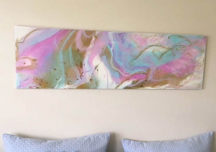 FAIRY FLOSS ISLE 35cm x 120cm candy coloured resin on board commission for a super sweet lady's bedroom!  Pastel pinks, blues, turquoise with white and luscious gold