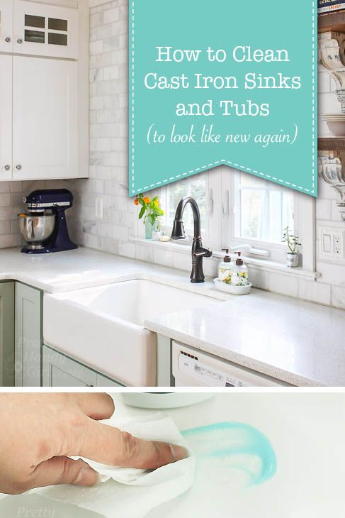 Clean cast iron sinks and tubs with this simple cleaner. I saved a client's bathtub from removal by using this technique!
