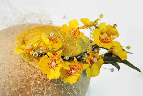 Orchid Fascinator Hat - Tropical Wedding Fascinator - Bridal Veil with Crystals - Wedding Headpiece - Yellow Fascinator - Sofia