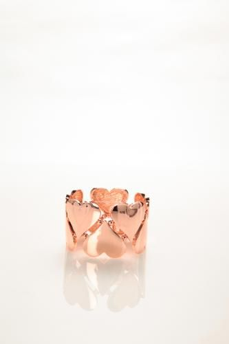 Rose Gold Heart Link Stretch Bracelet
