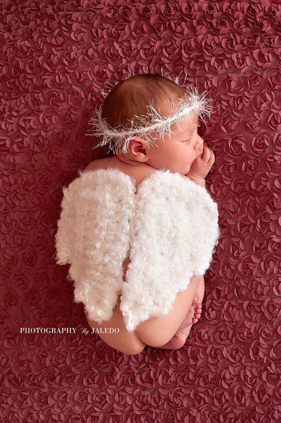 Alas de Ángel de crochet Halo fotografía recién nacido prop