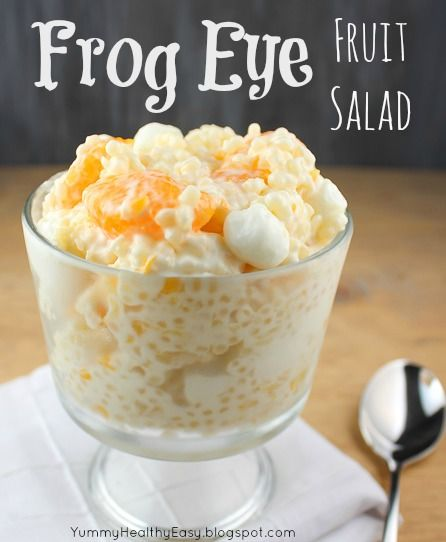 Frog eye fruit salad. Pineapples, mandarin oranges, cool whip, marshmallows and PASTA. Looks refreshingly different. More