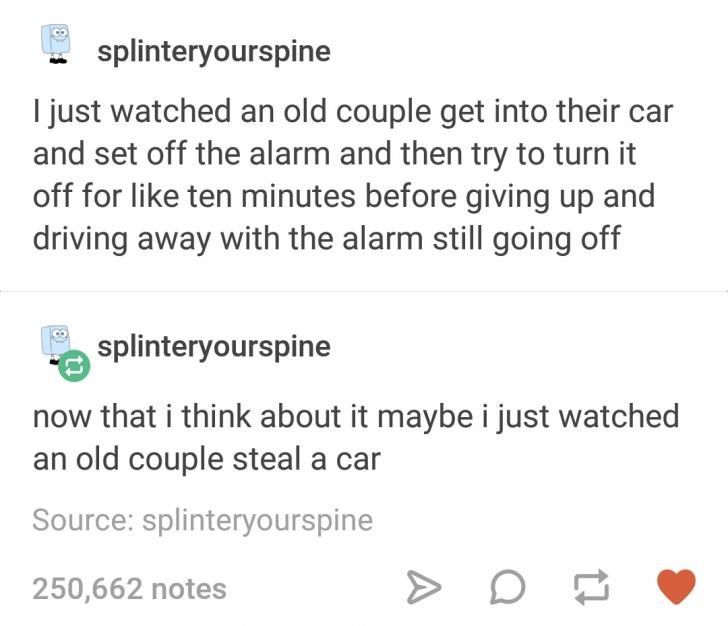 Old couple and a car alarm