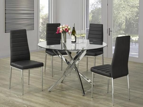 Meredith Round Glass Dinette Table Set #www.craftmansfurniture.ca #furniture #furnituredesign #interiordesign #interiors #furnishing #couches #sofas #bedroomset #diningtable #rugs #coffeetables #canvas #endtables #accessories #accentchairs #canadianmade #solidwood #barstools #mirrors #heartlandtowncentre #handmade #mississauga #contemporaryart #bedroomdecor #homedecor #modernfurniture