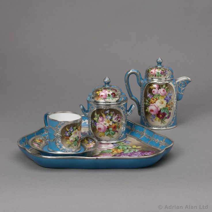 A Fine Silver Mounted Sèvres Style Porcelain Cabaret Set