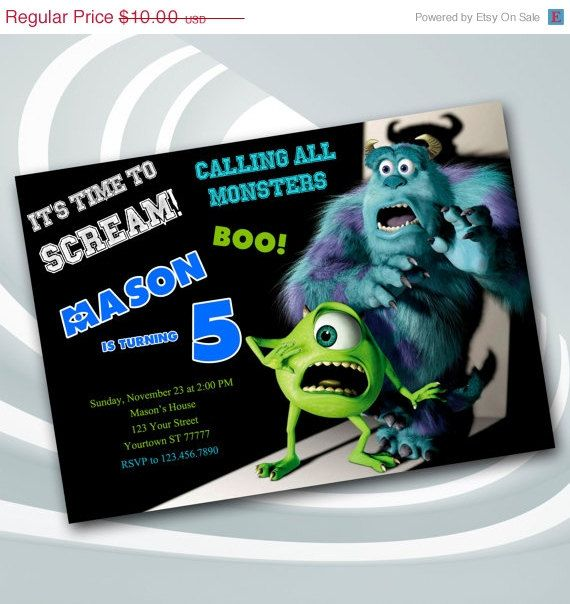 SALE 25% Monsters Inc  Invitation  Monsters Inc by ticketparty