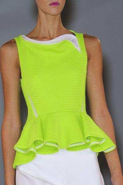 Sportive Neon Peplum Details @ Hussein Chalayan Spring Summer 2013 #PFW Paris Fashion Week