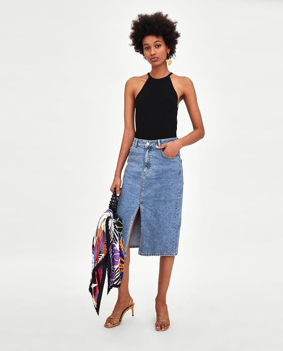 58212abf54fb29 Image 1 of HIGH WAIST DENIM MIDI SKIRT from Zara Waisted Denim, High  Waisted Skirt