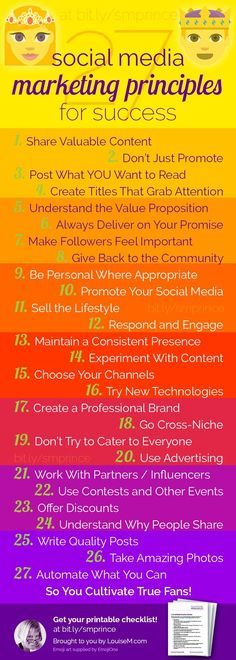 Doing social media marketing for your small business? This colorful infographic outlines the best social media principles to succeed on Pinterest, Facebook, Instagram, Twitter and more. Click to blog to get the handy downloadable checklist for convenient reference!