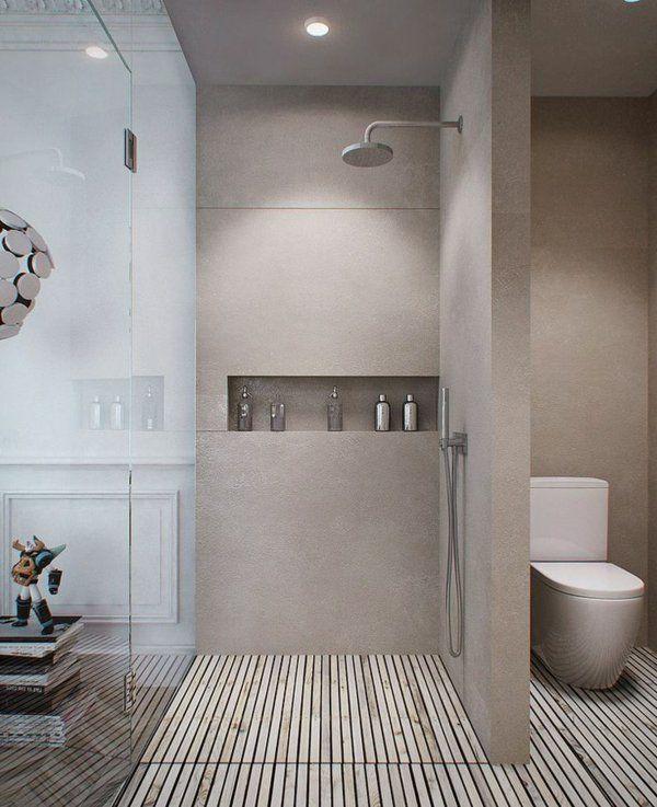 salle de bains grise en béton et bois