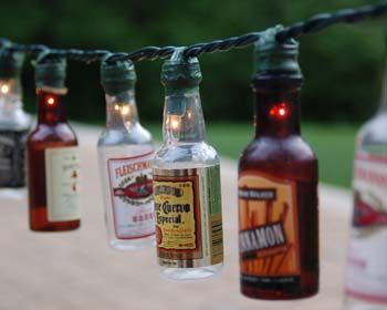 Patio lights: Summer Crafts, Minis Bottle, Idea, Alcohol Bottle, Party Lighting, Patio Party, Beer Bottle, Bottle Lighting, Liquor Bottle