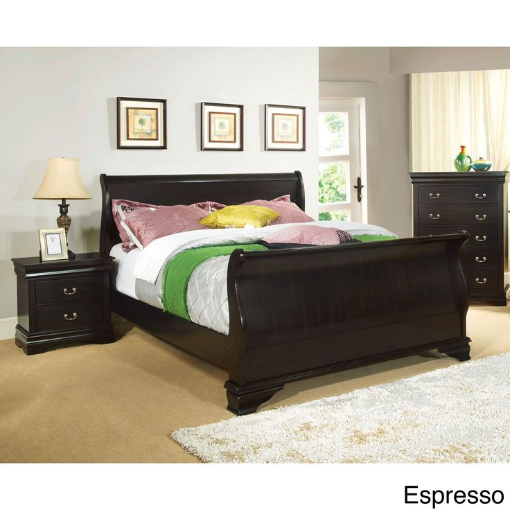 furniture of america bravo smooth sleigh bed cal king cherry brown size california king