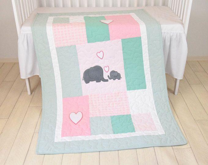 Rosa manta menta elefante edredón del bebé, cuna de niña, ropa de cama, Bespread de Patchwork