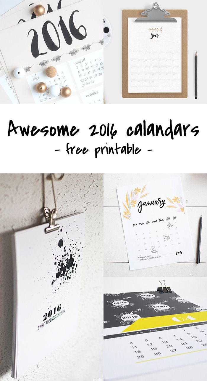 Ohoh Blog - diy and crafts: Freebie # 2016 Calendars