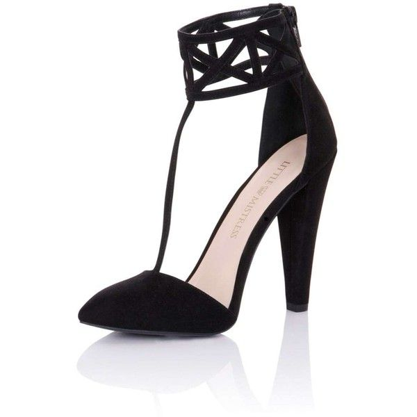 4814500d380   Little Mistress Black Geo Closed Toe Heels ( 99) ❤ liked on Polyvore  featuring shoes