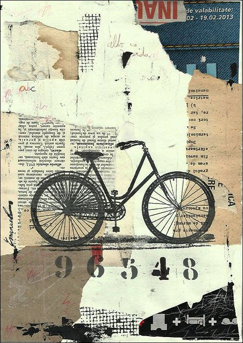 Print Art Ink Drawing Collage Mixed Media Bicycle Bike Painting Illustration Gift Cat Autographed by artist Emanuel M. Ologeanu