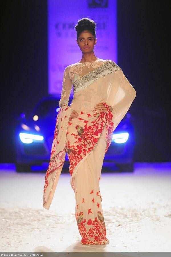 Bird and floral sari by Varun Bahl at Delhi Couture Week 2013