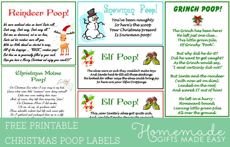 Reindeer Poop and other Christmas Poop printable labels from Homemade-Gifts-Made-Easy.com
