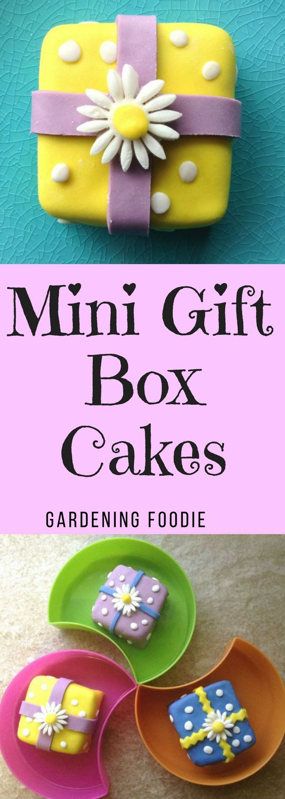 Aren't novelty cakes the cutest, and these Mini Gift Box Cakes make adorable individual dessert treats. Covered in rolled fondant these little desserts are sure to make an impression.
