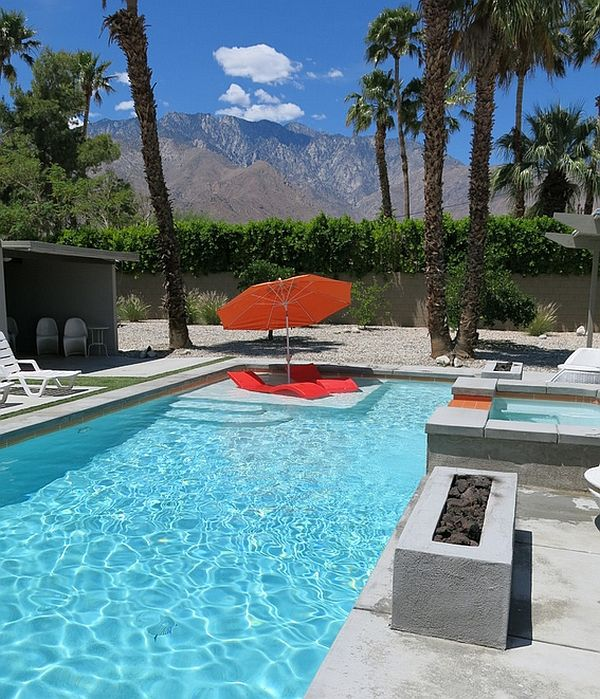 Colorful seating additions to the pool in bright orange