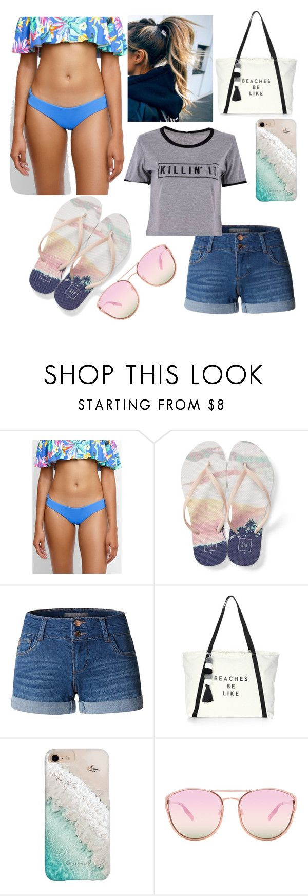 """""""vacation day 2. visiting the beach"""" by hannarules37 ❤ liked on Polyvore featuring Maaji, Gap, LE3NO, Milly, Gray Malin and Quay"""