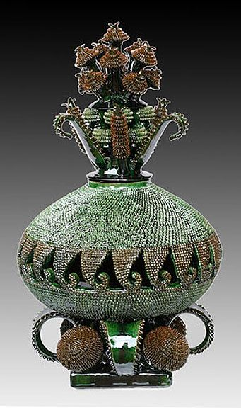 Mexican decor: Michoacan intricate pineapple pottery. Amazing pieces for your home.