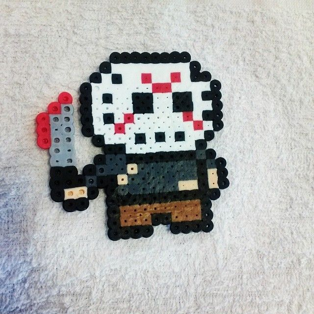 Jason Vorhees  perler beads by adorkable_chicka