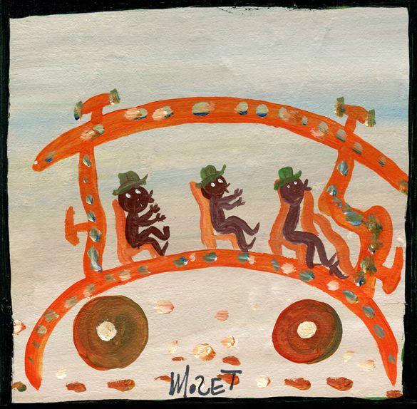 Eine bemalte Kachel, 15 x 15 cm, von Mose Tolliver, dem Afroamerikaner, der von 1920-2006 lebte. Eine von vier Arbeiten des grossen Amerikaner, die auf der Webgalerie www.aussenseiterk... neben vielen entdeckenswerten Werken weiterer Künstler vorgestellt werden