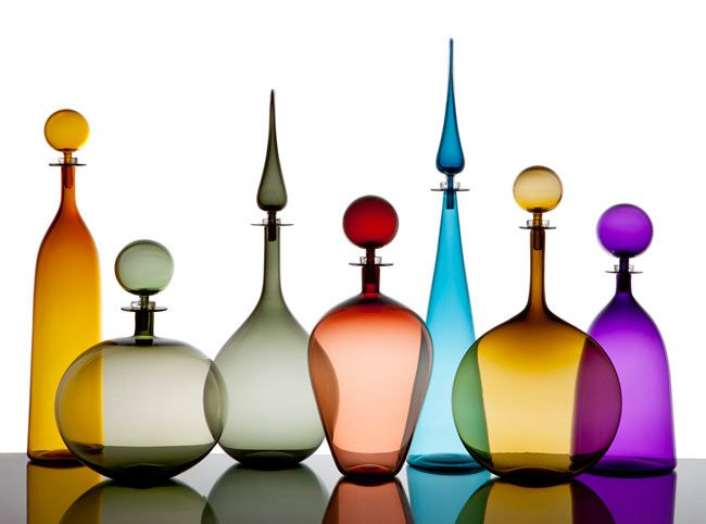 Gorgeously perfect hand-blown glass bottles from LA artist Joe Cariati.