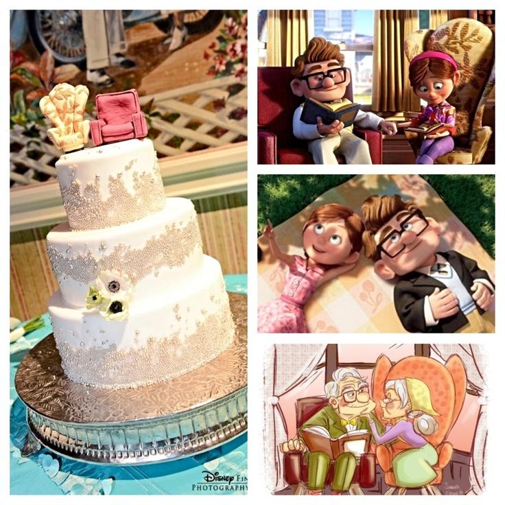Carl Ellie Cake Topper Chairs Wedding