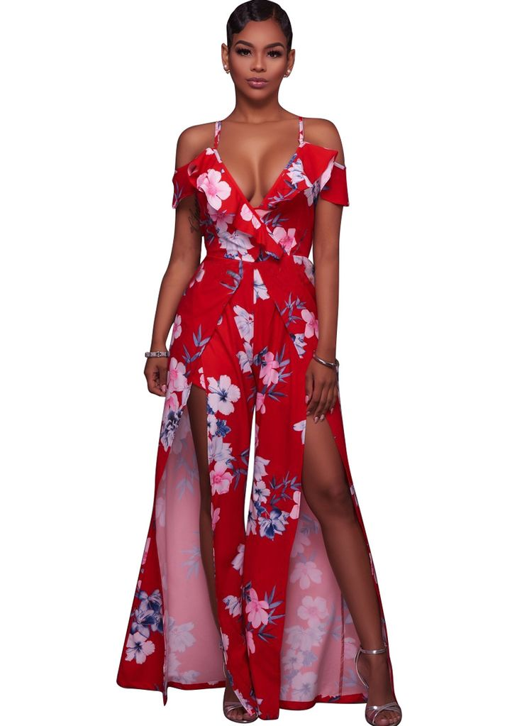 Jael Red Multi-Color Floral Romper Maxi Dress_Maxi Dress_Dresses_Sexy Lingeire   Cheap Plus Size Lingerie At Wholesale Price   Feelovely.com