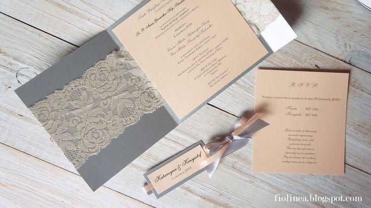 Fiolinea - Ślubna Galanteria Papiernicza: Peach & Sliver na weselu Kasi i…