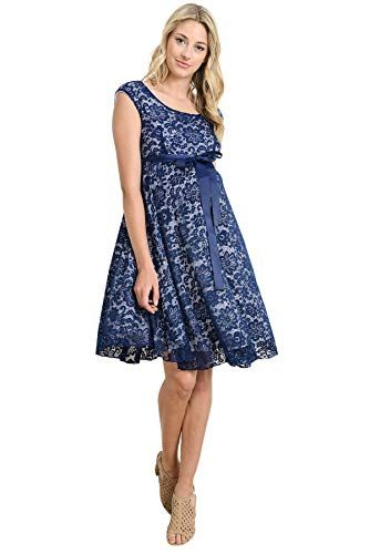 08d22a183c8 Hello MIZ Maternity Floral Lace Baby Shower Party Cocktail Dress With Ribbon  Waist at Amazon Women s
