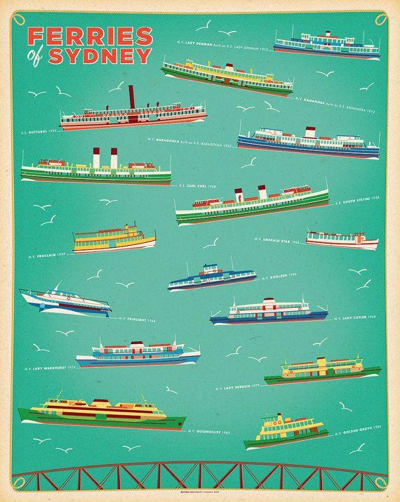 Ferries of Sydney retro illustrated print by BarockyChocky on Etsy
