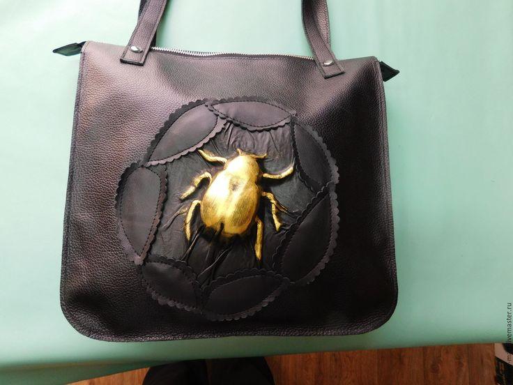 Купить Сумка-ЖУК-01 - черный, лето, сумка женская, сумка на плечо