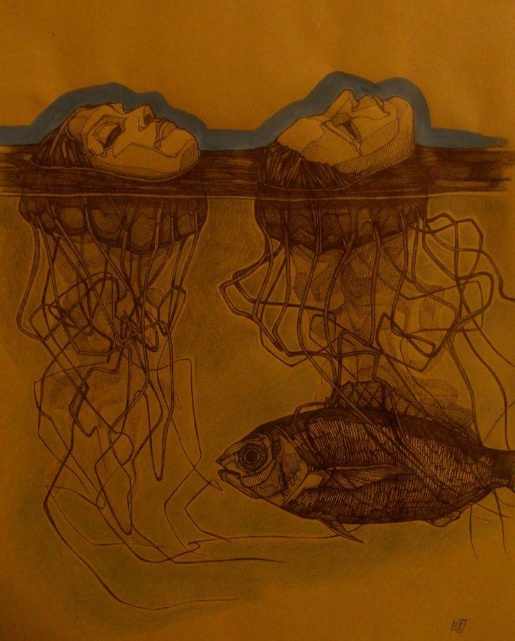 """""""A mezz'acqua, ricordo"""", penna a biro, pastelli e tempera su carta, 2013.""""Se avessimo il giusto senso della nostra posizione nel mondo, se confrontare fosse inseparabile dal vivere, la rivelazione della nostra infima presenza ci schiaccerebbe. Ma vivere significa ingannarsi sulle proprie dimensioni…""""(E. Cioran)"""