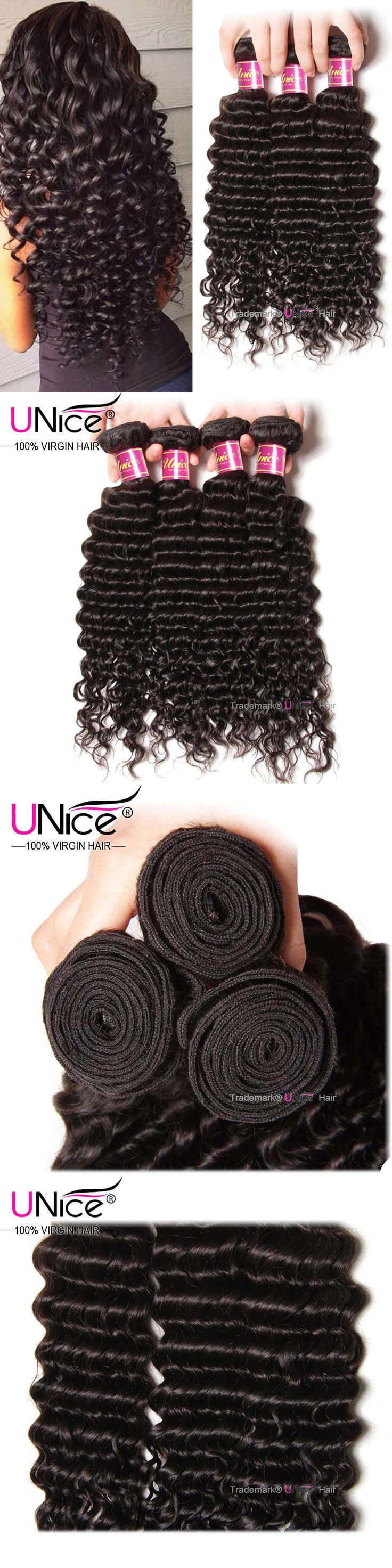 Hair Extensions: Brazilian Deep Wave Hair 3 Bundles Unice Curly Virgin Human Hair Extensions 300G BUY IT NOW ONLY: $130.14