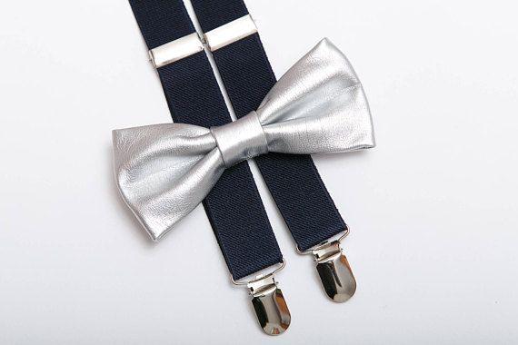 Wedding Bow ties for men Silver bow tie Navy #weddings #accessories @EtsyMktgTool #bowtiesformen #silverbowtie #navybluesuspenders
