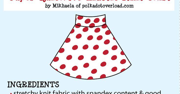 Polka Dot Overload | Sewing, knitting & vintage projects, tips, tutorials and cartoons!: Tutorial: Super Quick No-Elastic Knit Half Circle Skirt!