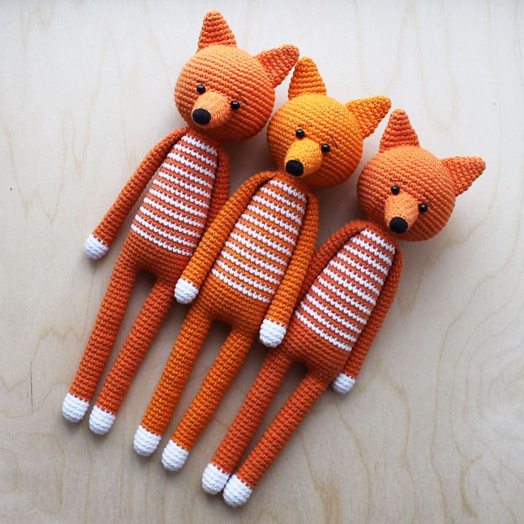 Beautiful crochet foxes. The best gift for a newborn!! #crochet #amigurumi
