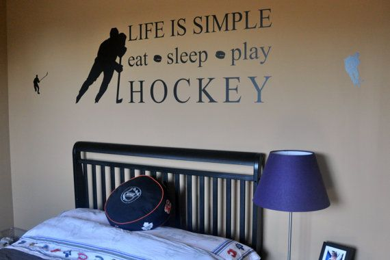 This kids hockey room decor is simple and makes a statement. Any hockey fan will love this.    This wall decal is easy to apply and is