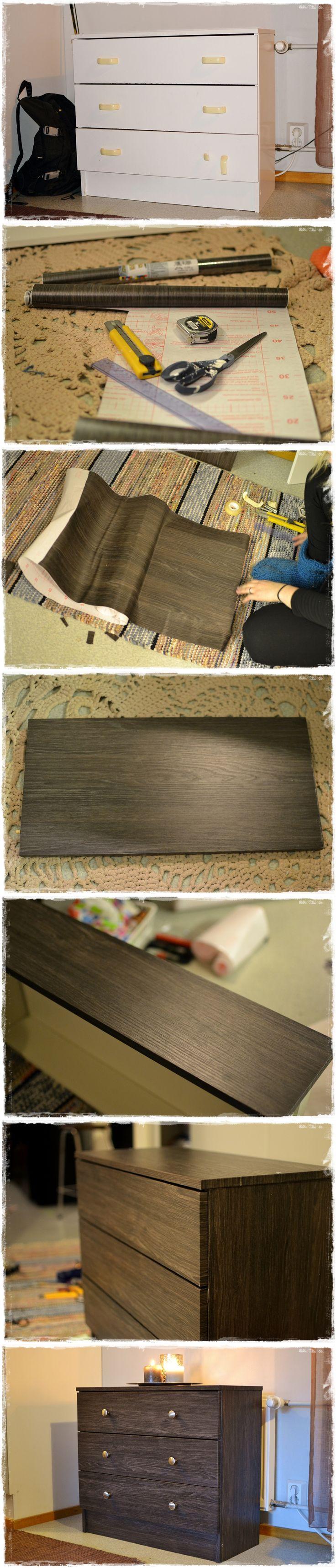 Vanha lipasto sai uuden ilmeen kontaktimuovilla. Chest of drawers makeover