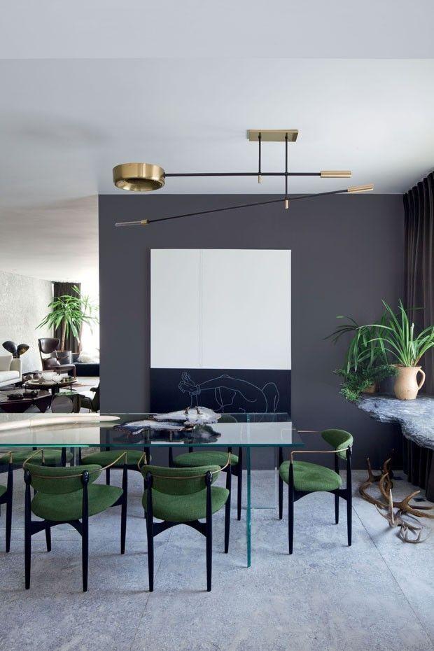 Décor do dia: sala de jantar contemporânea mistura verde e cinza