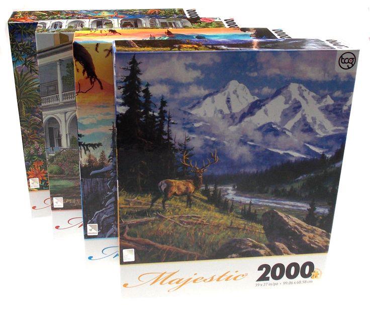 Lot 4 TCG Sure Lox Majestic Jigsaw Puzzles 2000 pc 39x27 Castle Mountains Island