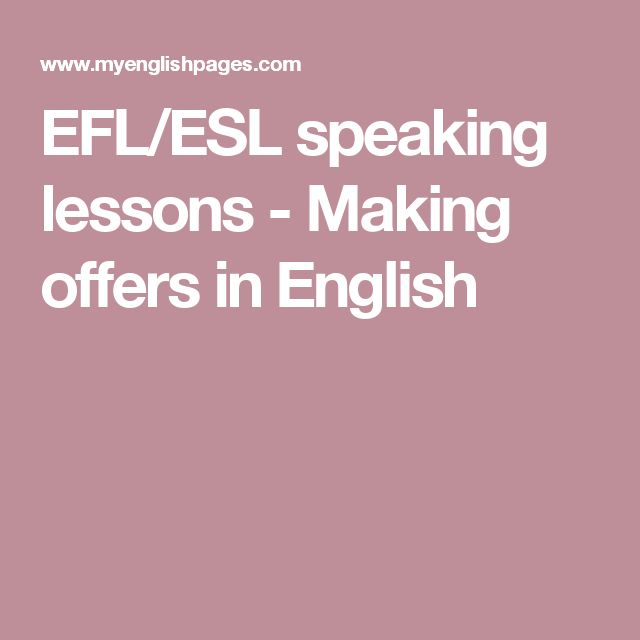 EFL/ESL speaking lessons - Making offers in English
