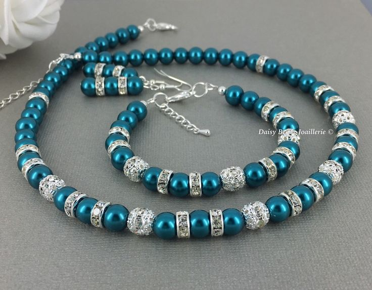 Teal Jewelry, Teal Necklace, Teal Bracelet, Pearl Jewelry Set, Bridesmaids Gift, Bridesmaid Jewelry, Bridesmaid Necklace, Teal Wedding by DaisyBeadzJoaillerie on Etsy https://www.etsy.com/ca/listing/279644436/teal-jewelry-teal-necklace-teal-bracelet