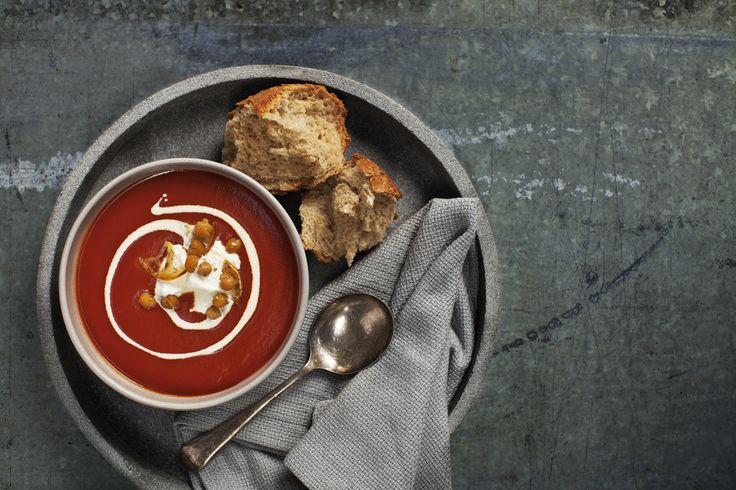 Tomato Soup with Fetta Cream. Add extra flavour to your favourite soup with Lemnos Smooth Fetta, simply beat the Fetta with a little sour cream and turn 'everyday' soup into very special soup. #Lemnos #WinterWarmer #easy #quick #recipe